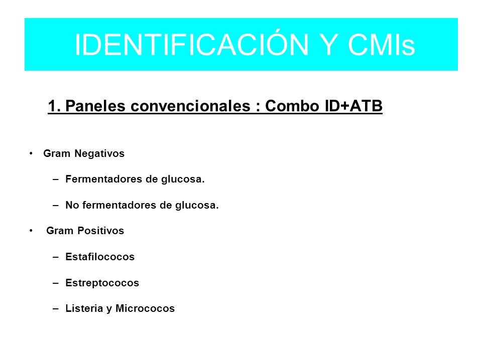 1. Paneles convencionales : Combo ID+ATB Gram Negativos – Fermentadores de glucosa. – No fermentadores de glucosa. Gram Positivos – Estafilococos – Es