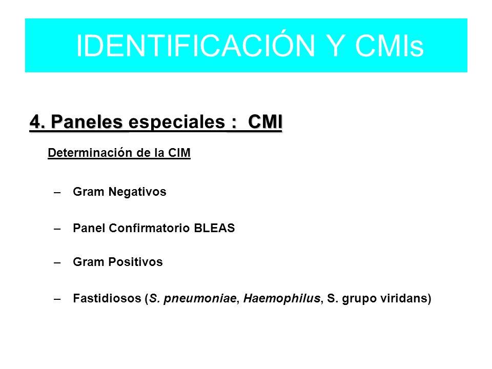 4. Paneles : CMI 4. Paneles especiales : CMI Determinación de la CIM – Gram Negativos – Panel Confirmatorio BLEAS – Gram Positivos – Fastidiosos (S. p