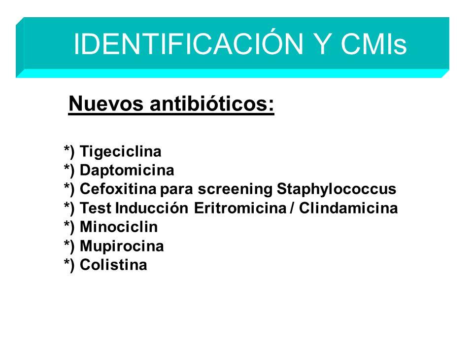 Nuevos antibióticos: *) Tigeciclina *) Daptomicina *) Cefoxitina para screening Staphylococcus *) Test Inducción Eritromicina / Clindamicina *) Minociclin *) Mupirocina *) Colistina