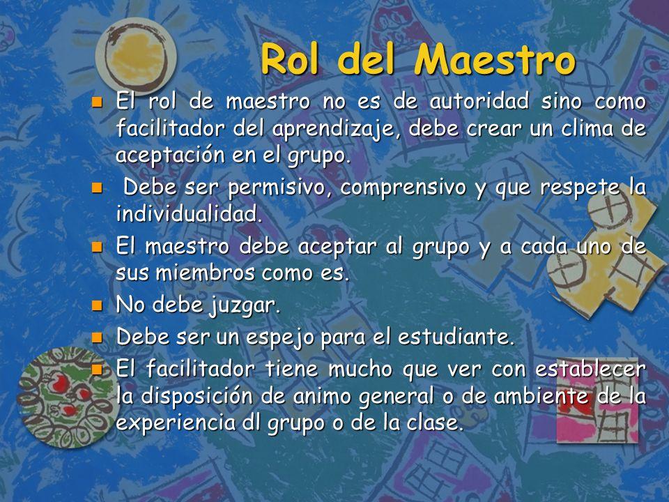 n Ayuda a producir y clarificar los propósitos de los individuos de la clase y los propósitos mas generales del grupo.