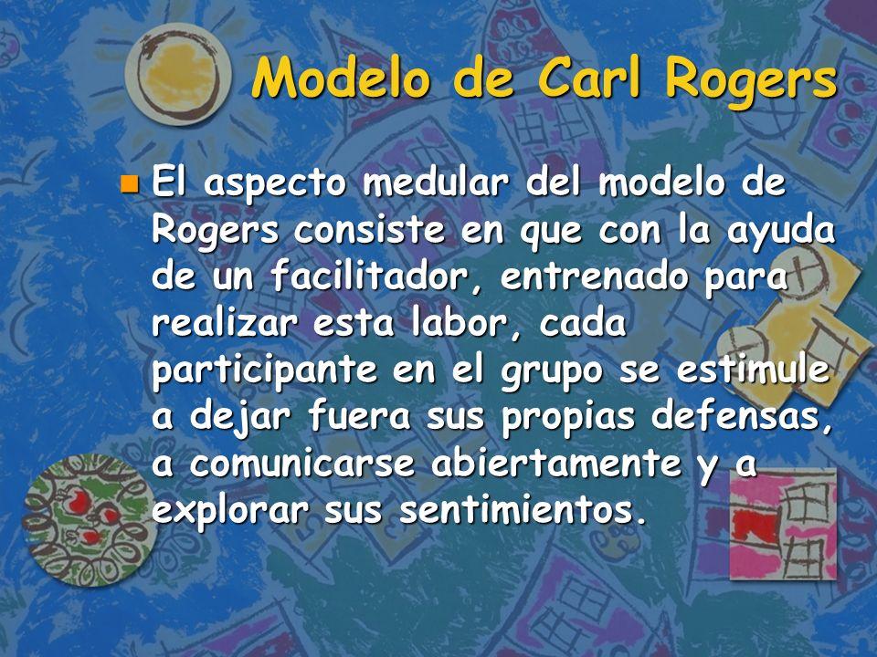 Conclusión n El modelo de Carl Rogers se puede clasificar como un modelo estético y humanístico que se hace pensando en las experiencias grupales y no solas en el cambio de la conducta.