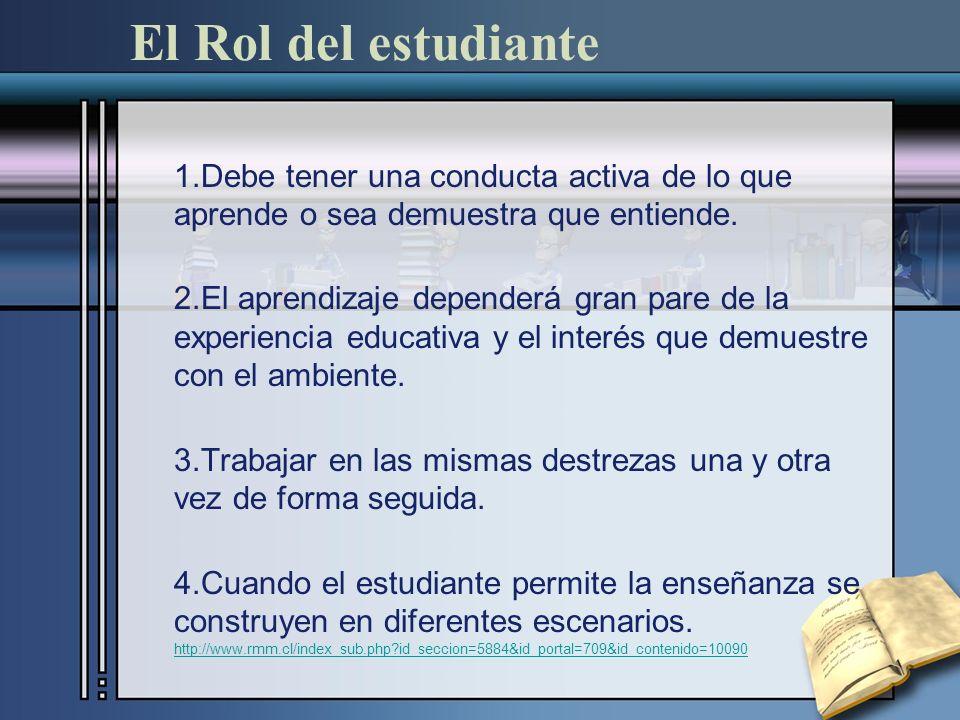El Rol del estudiante 1.Debe tener una conducta activa de lo que aprende o sea demuestra que entiende.