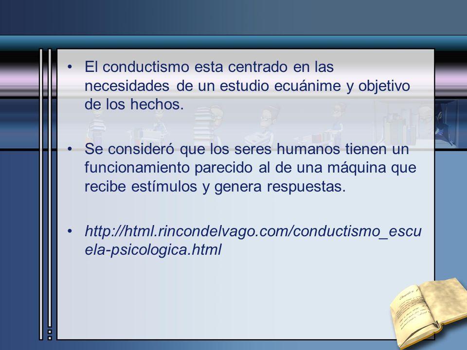 El conductismo esta centrado en las necesidades de un estudio ecuánime y objetivo de los hechos.