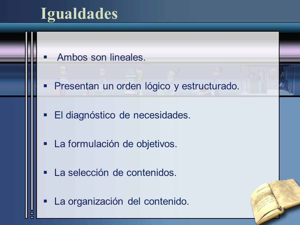 Igualdades Ambos son lineales.Presentan un orden lógico y estructurado.