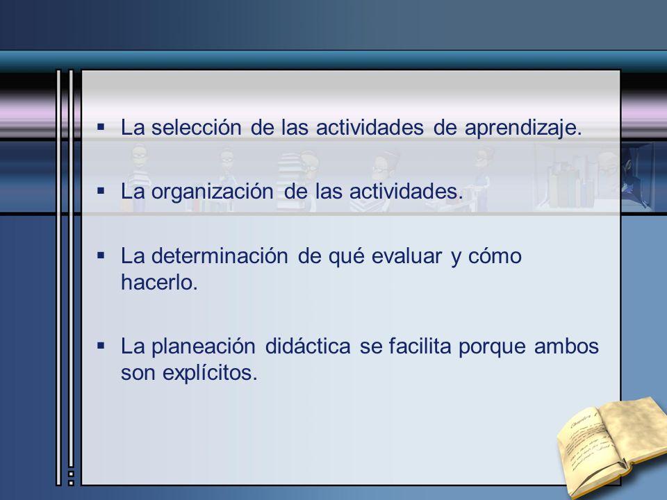 La selección de las actividades de aprendizaje. La organización de las actividades. La determinación de qué evaluar y cómo hacerlo. La planeación didá