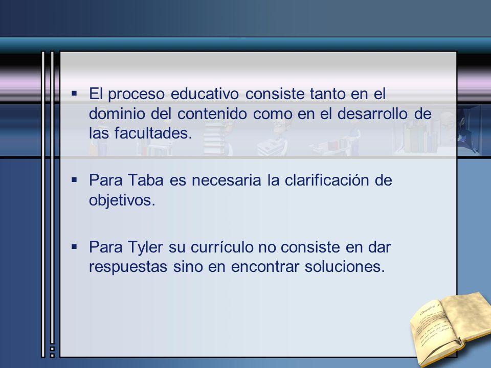 El proceso educativo consiste tanto en el dominio del contenido como en el desarrollo de las facultades.