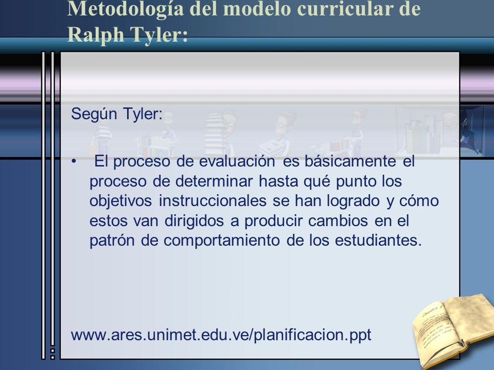 Metodología del modelo curricular de Ralph Tyler: Según Tyler: El proceso de evaluación es básicamente el proceso de determinar hasta qué punto los ob