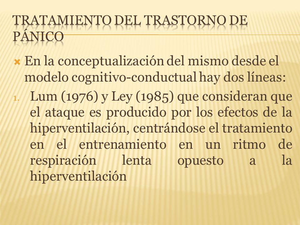 En la conceptualización del mismo desde el modelo cognitivo-conductual hay dos líneas: 1. Lum (1976) y Ley (1985) que consideran que el ataque es prod