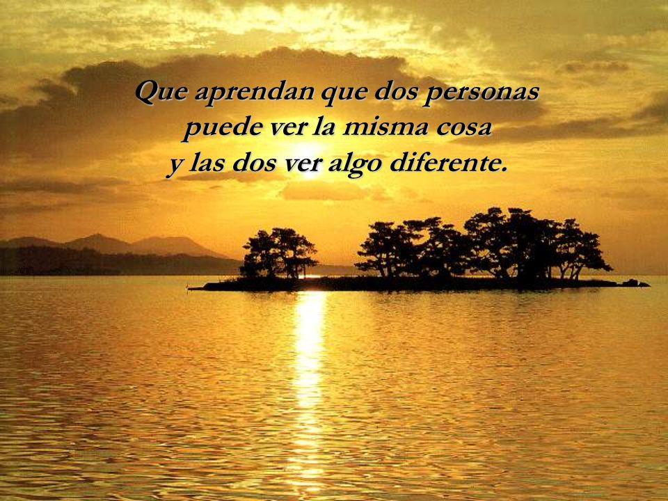Que aprendan que dos personas puede ver la misma cosa y las dos ver algo diferente.