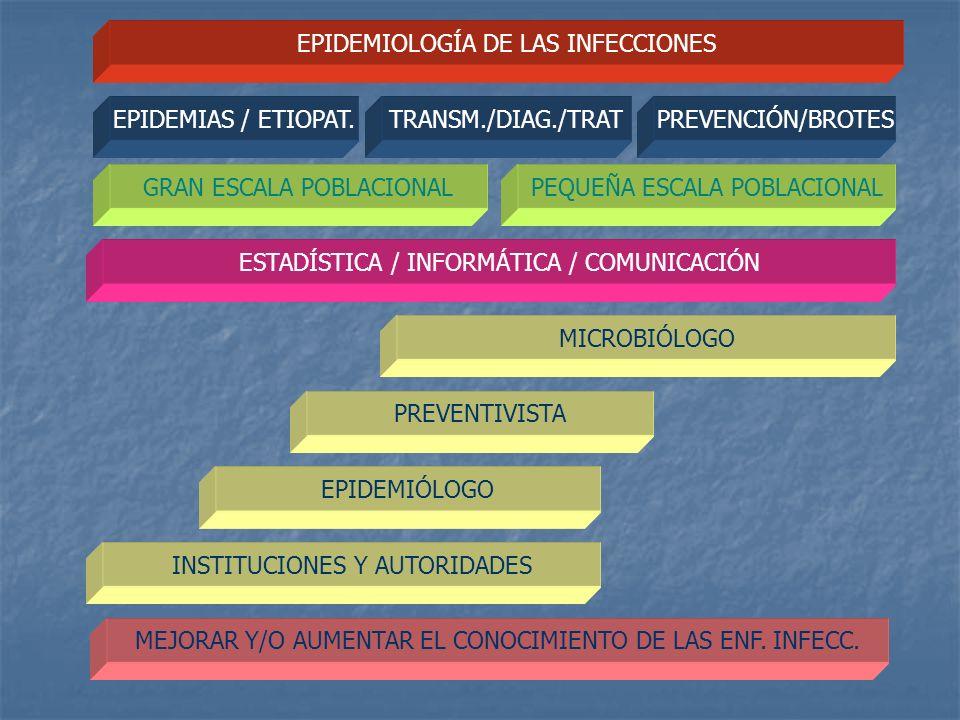EPIDEMIOLOGÍA DE LAS INFECCIONES GRAN ESCALA POBLACIONALPEQUEÑA ESCALA POBLACIONAL ESTADÍSTICA / INFORMÁTICA / COMUNICACIÓN MICROBIÓLOGO PREVENTIVISTA