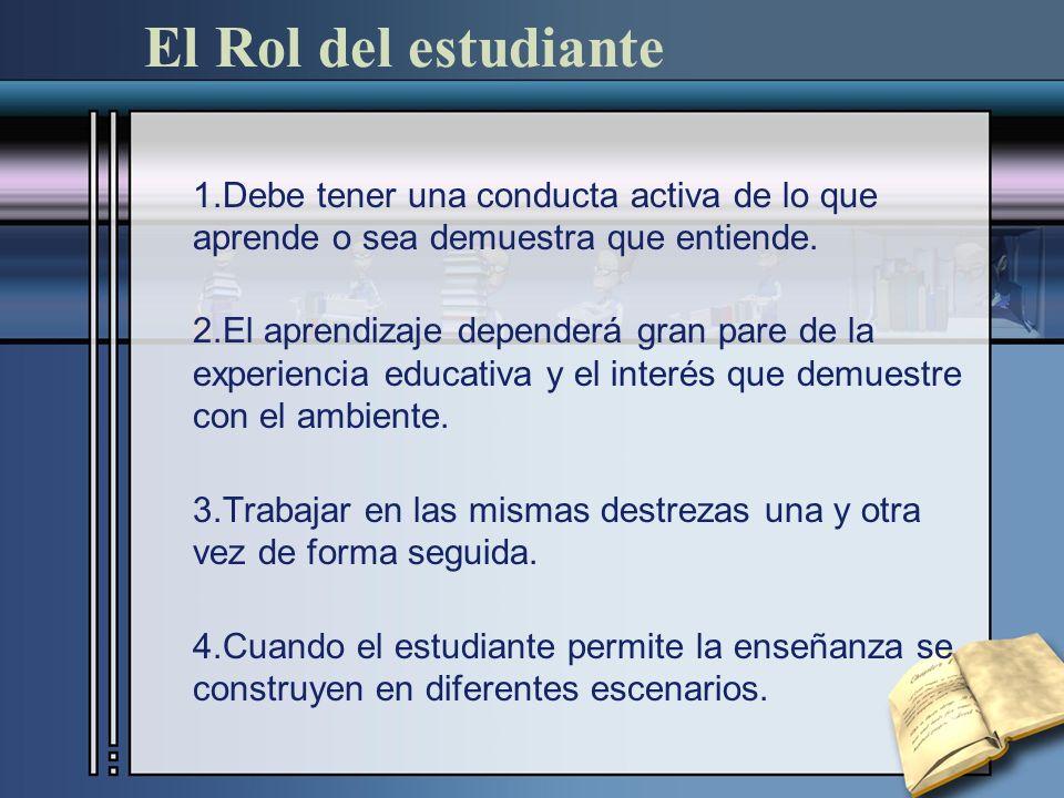El Rol del estudiante 1.Debe tener una conducta activa de lo que aprende o sea demuestra que entiende. 2.El aprendizaje dependerá gran pare de la expe