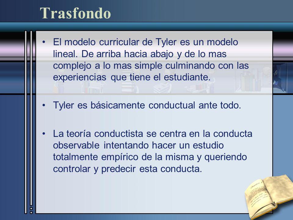 Trasfondo El modelo curricular de Tyler es un modelo lineal. De arriba hacia abajo y de lo mas complejo a lo mas simple culminando con las experiencia