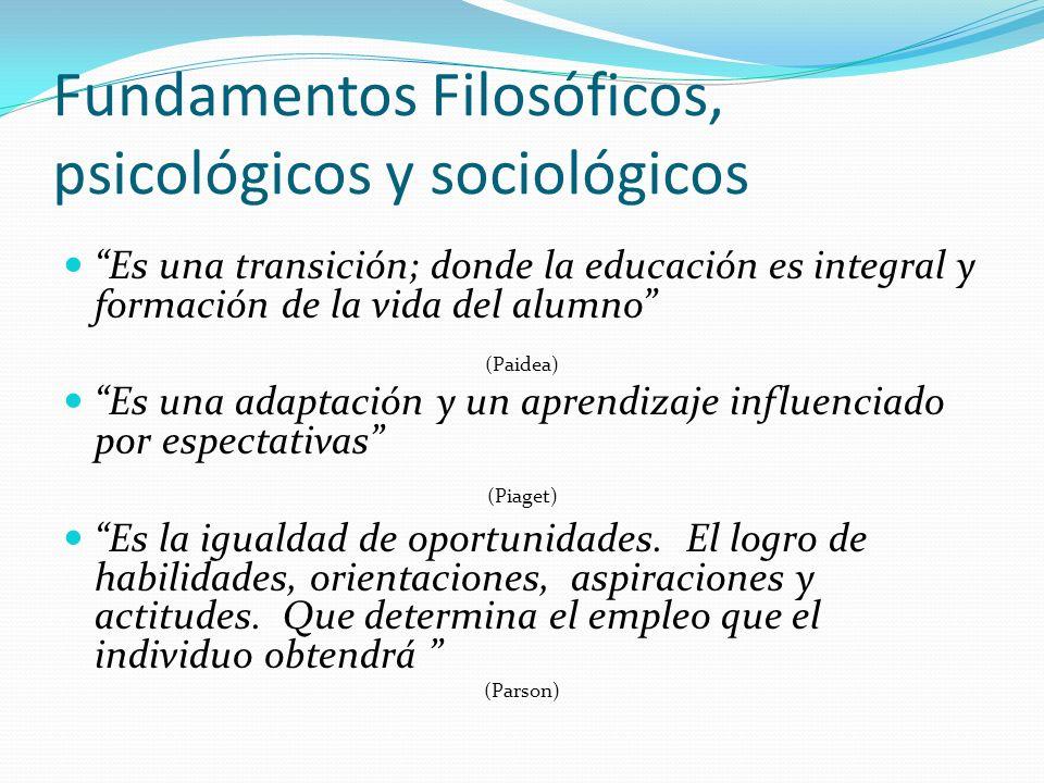 Fundamentos Filosóficos, psicológicos y sociológicos Es una transición; donde la educación es integral y formación de la vida del alumno (Paidea) Es u