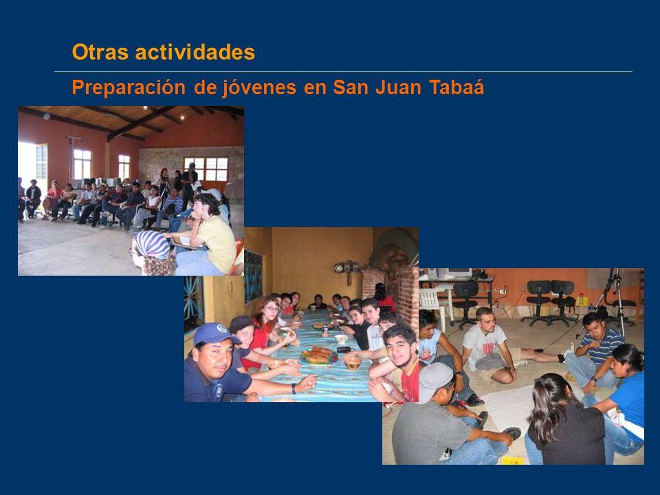 Otras actividades Preparación de jóvenes en San Juan Tabaá