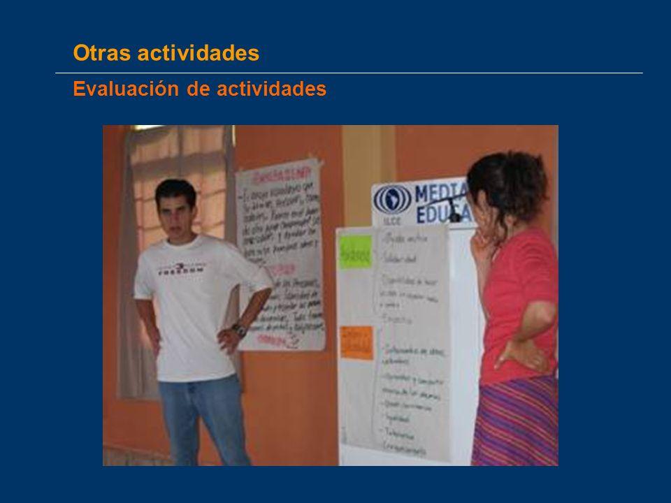 Otras actividades Evaluación de actividades