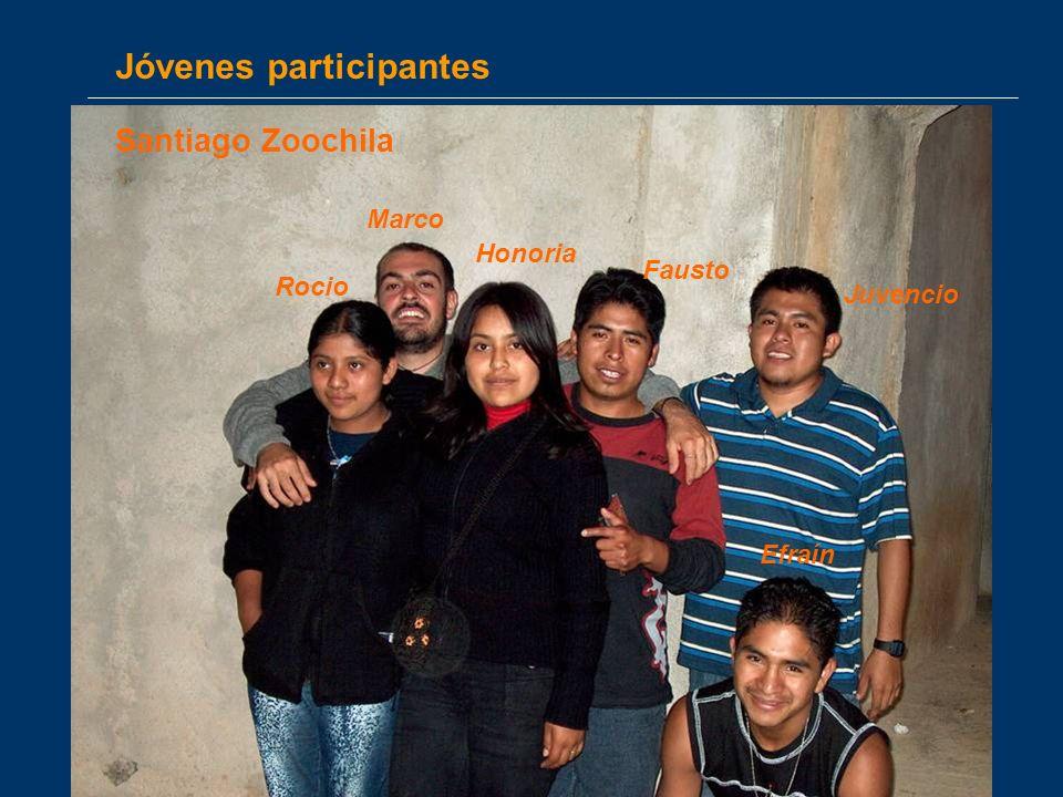 Jóvenes participantes Efraín Fausto Rocio Honoria Juvencio Marco Santiago Zoochila