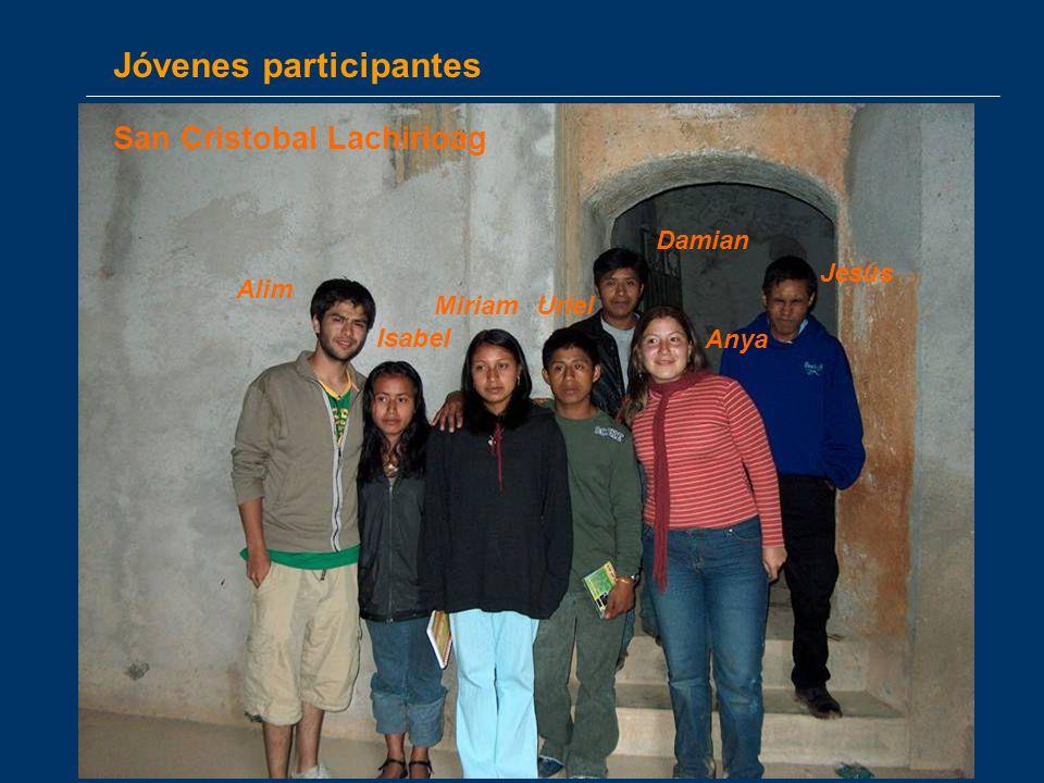 Jóvenes participantes Anya Damian Alim Miriam Jesús Isabel San Cristobal Lachirioag Uriel