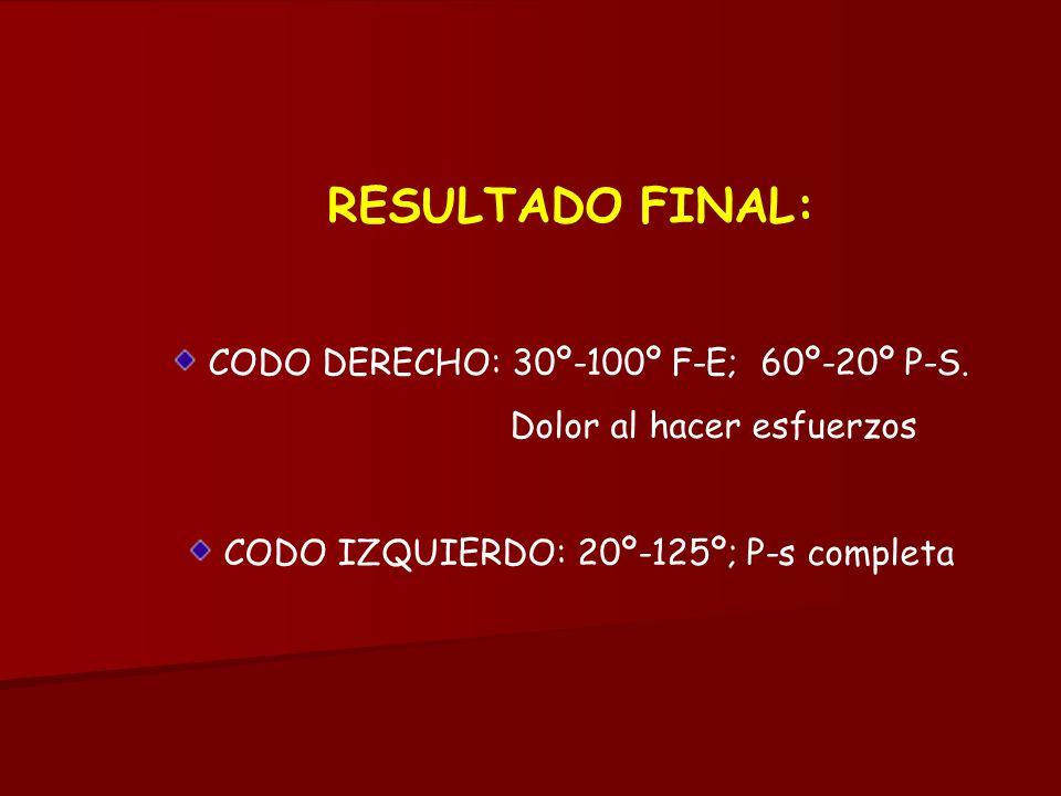 RESULTADO FINAL: CODO DERECHO: 30º-100º F-E; 60º-20º P-S. Dolor al hacer esfuerzos CODO IZQUIERDO: 20º-125º; P-s completa