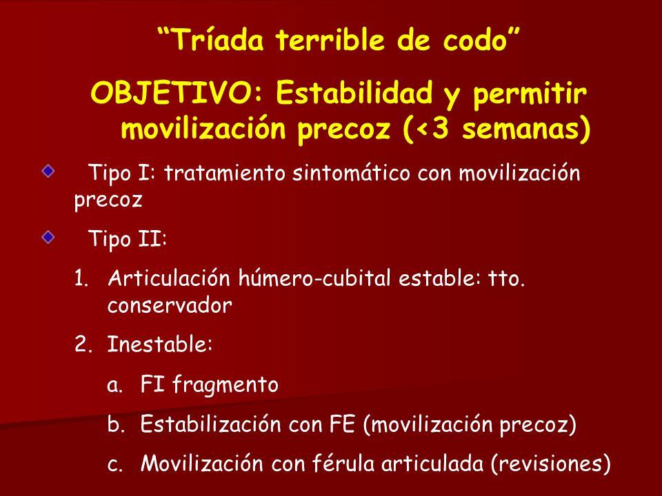 Tríada terrible de codo OBJETIVO: Estabilidad y permitir movilización precoz (<3 semanas) Tipo I: tratamiento sintomático con movilización precoz Tipo