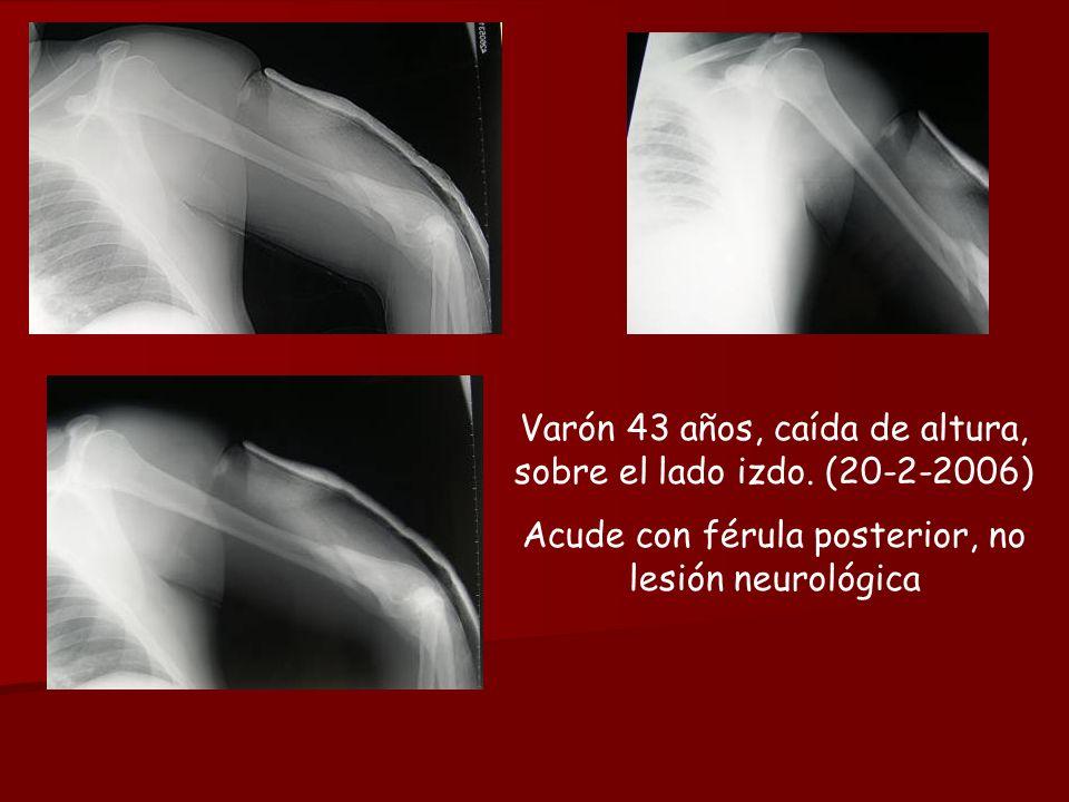 Varón 43 años, caída de altura, sobre el lado izdo. (20-2-2006) Acude con férula posterior, no lesión neurológica