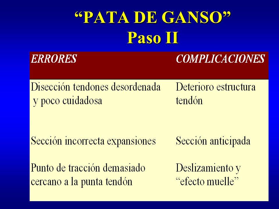 PATA DE GANSO Paso III : extracción tendones Extractor de cabeza de corte no articuladaExtractor de cabeza de corte no articulada Diámetro 5 mmDiámetro 5 mm Pinza de agarre artroscópicaPinza de agarre artroscópica