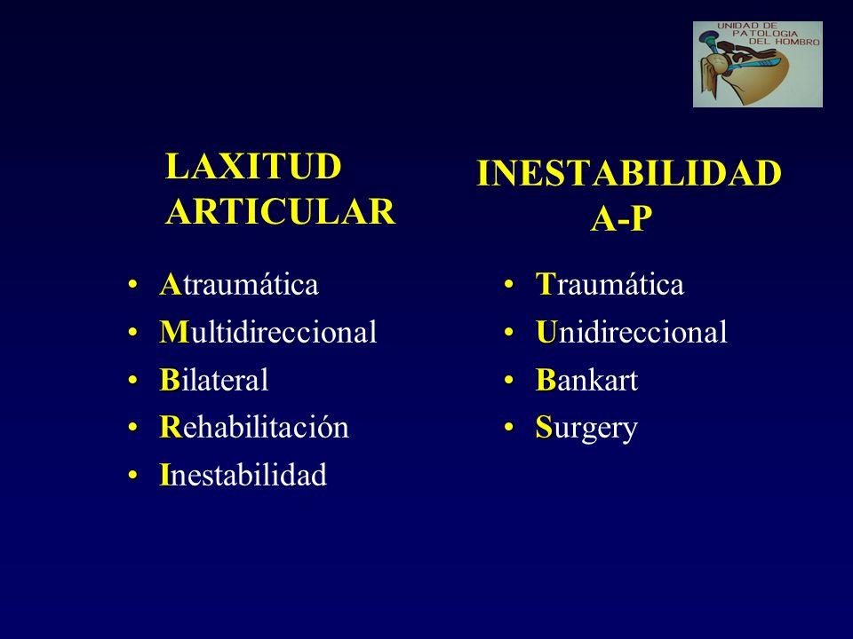 INESTABILIDAD A-P AAtraumática MMultidireccional BBilateral RRehabilitación IInestabilidad TTraumática UUnidireccional BBankart SSurgery LAXITUD ARTIC