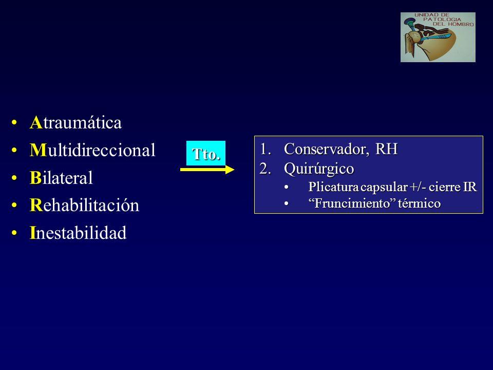 AAtraumática MMultidireccional BBilateral RRehabilitación IInestabilidad 1.Conservador, RH 2.Quirúrgico Plicatura capsular +/- cierre IRPlicatura caps