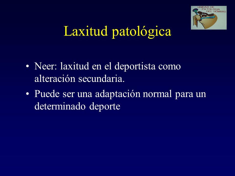 Laxitud patológica Neer: laxitud en el deportista como alteración secundaria. Puede ser una adaptación normal para un determinado deporte