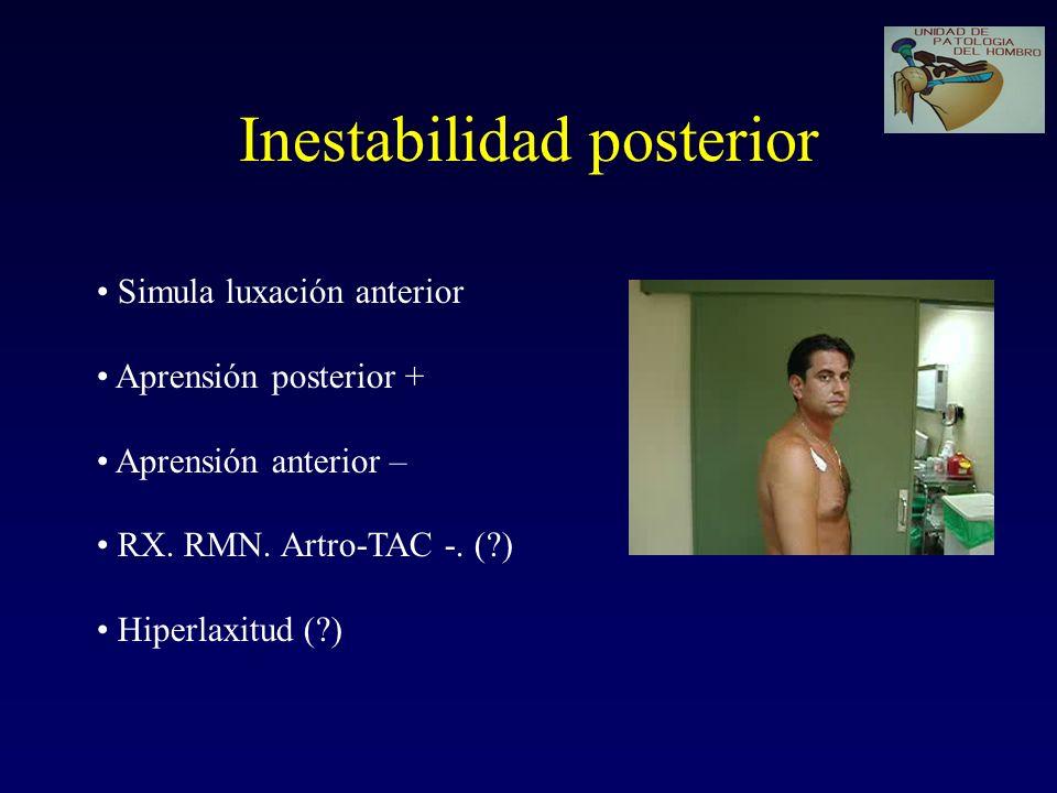 Inestabilidad posterior Simula luxación anterior Aprensión posterior + Aprensión anterior – RX. RMN. Artro-TAC -. (?) Hiperlaxitud (?)