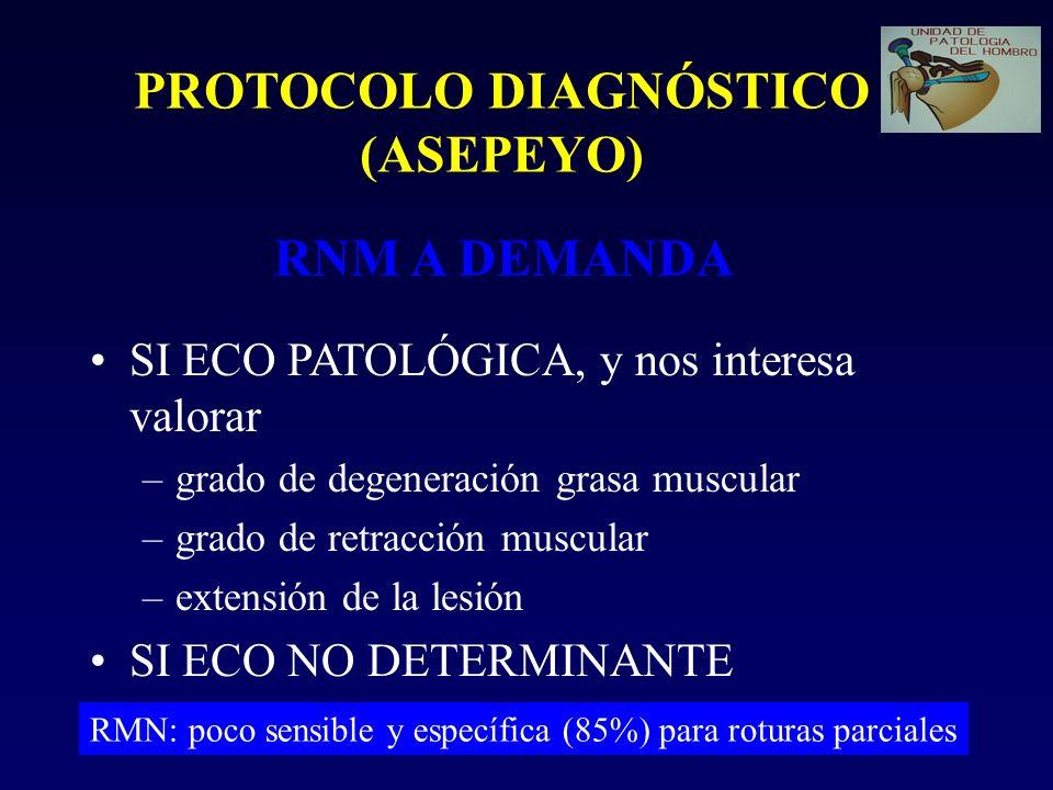 PROTOCOLO DIAGNÓSTICO (ASEPEYO) RNM A DEMANDA SI ECO PATOLÓGICA, y nos interesa valorar –grado de degeneración grasa muscular –grado de retracción muscular –extensión de la lesión SI ECO NO DETERMINANTE RMN: poco sensible y específica (85%) para roturas parciales