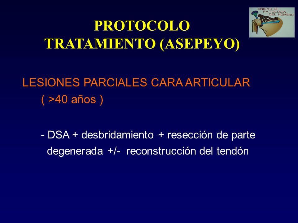 PROTOCOLO TRATAMIENTO (ASEPEYO) LESIONES PARCIALES CARA ARTICULAR ( >40 años ) - DSA + desbridamiento + resección de parte degenerada +/- reconstrucci