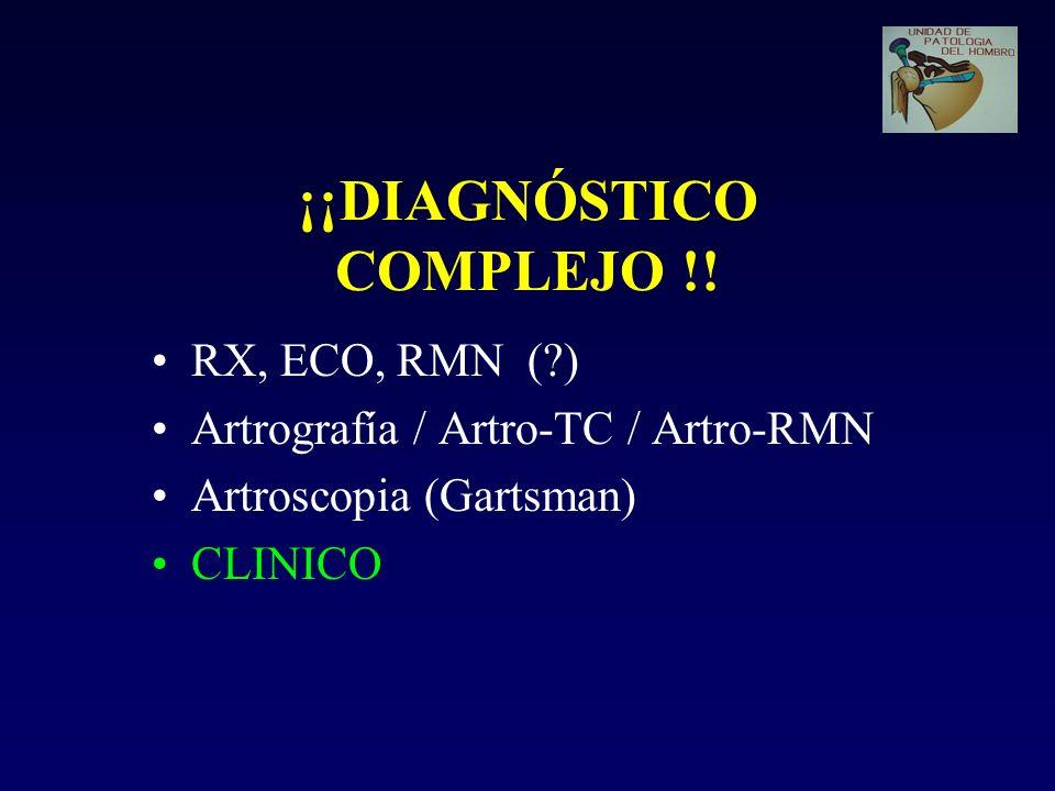 ¡¡DIAGNÓSTICO COMPLEJO !! RX, ECO, RMN (?) Artrografía / Artro-TC / Artro-RMN Artroscopia (Gartsman) CLINICO