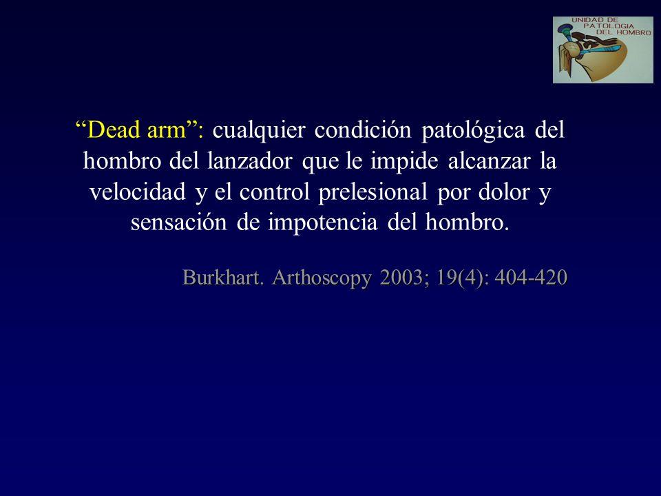 Burkhart. Arthoscopy 2003; 19(4): 404-420 Dead arm: cualquier condición patológica del hombro del lanzador que le impide alcanzar la velocidad y el co