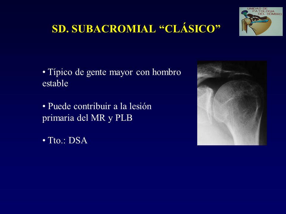 SD. SUBACROMIAL CLÁSICO Típico de gente mayor con hombro estable Puede contribuir a la lesión primaria del MR y PLB Tto.: DSA