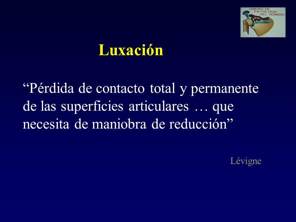 Luxación Pérdida de contacto total y permanente de las superficies articulares … que necesita de maniobra de reducción Lévigne