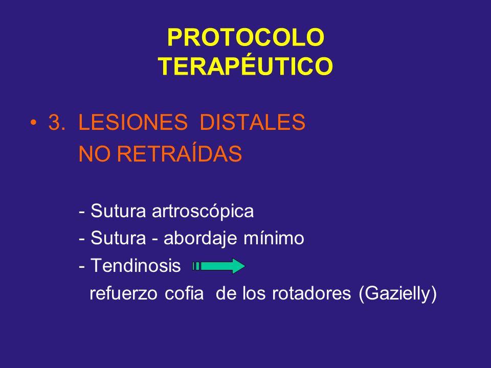 PROTOCOLO TERAPÉUTICO 3. LESIONES DISTALES NO RETRAÍDAS - Sutura artroscópica - Sutura - abordaje mínimo - Tendinosis refuerzo cofia de los rotadores