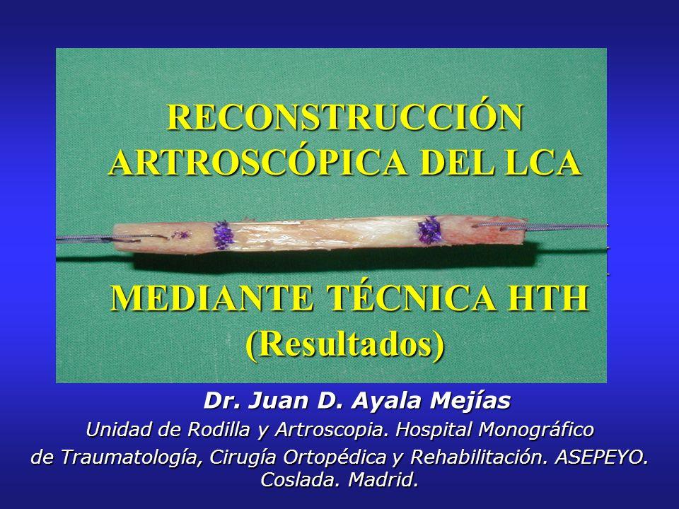 RECONSTRUCCIÓN ARTROSCÓPICA DEL LCA MEDIANTE TÉCNICA HTH (Resultados) Dr. Juan D. Ayala Mejías Dr. Juan D. Ayala Mejías Unidad de Rodilla y Artroscopi