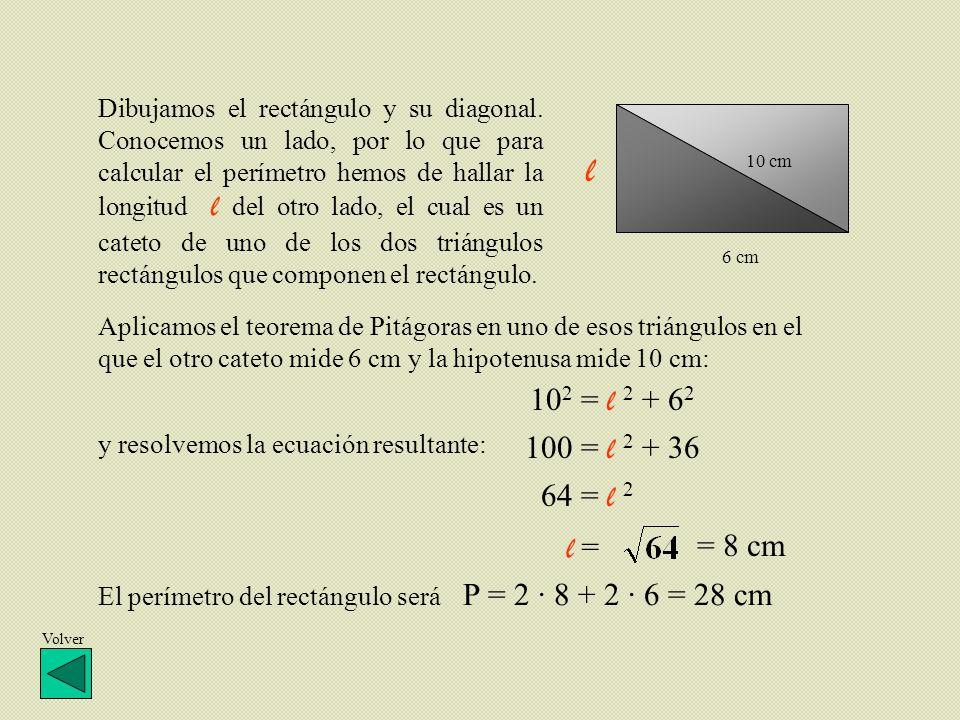 Dibujamos el rectángulo y su diagonal. Conocemos un lado, por lo que para calcular el perímetro hemos de hallar la longitud l del otro lado, el cual e