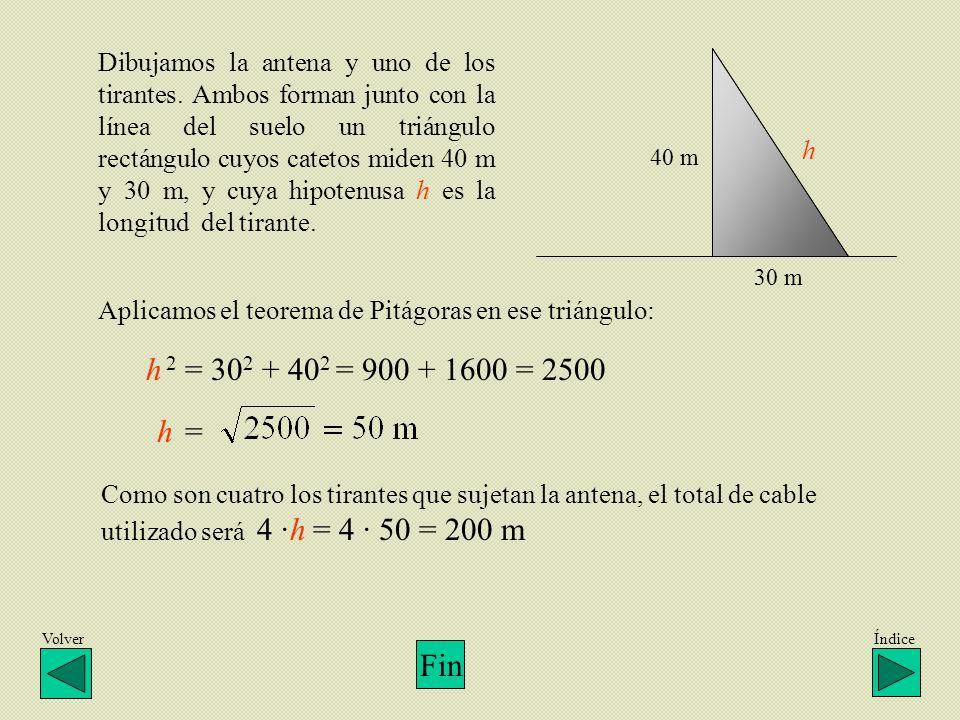 VolverÍndice Dibujamos la antena y uno de los tirantes. Ambos forman junto con la línea del suelo un triángulo rectángulo cuyos catetos miden 40 m y 3