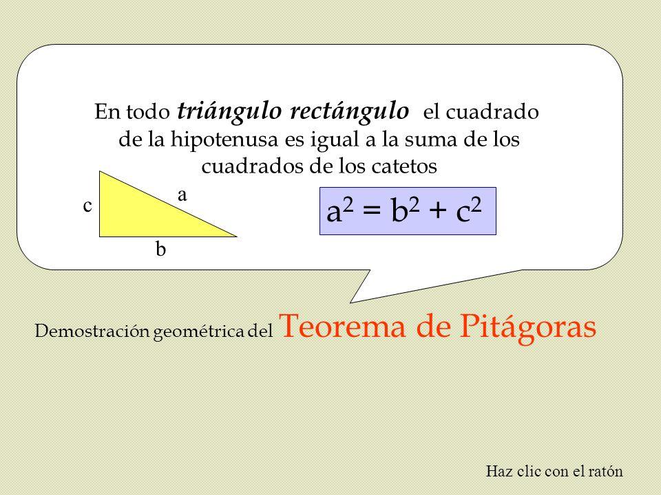 En todo triángulo rectángulo el cuadrado de la hipotenusa es igual a la suma de los cuadrados de los catetos Demostración geométrica del Teorema de Pi