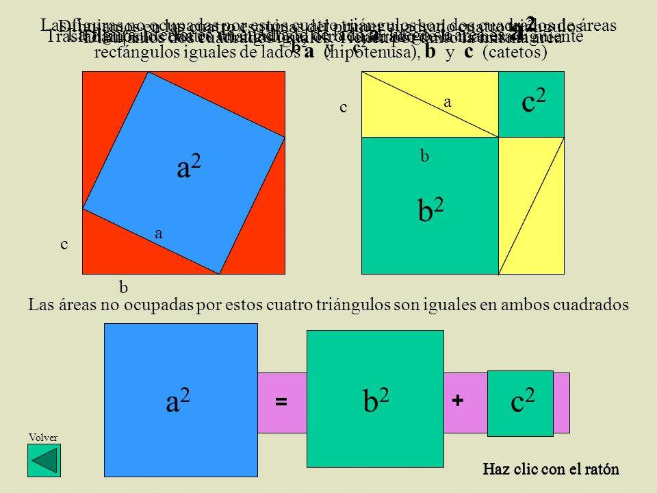 = + c a c b a b a2a2 b2b2 c2c2 Dibujamos dos cuadrados iguales. Tienen por tanto la misma área Dibujamos en las cuatro esquinas del primer cuadrado cu