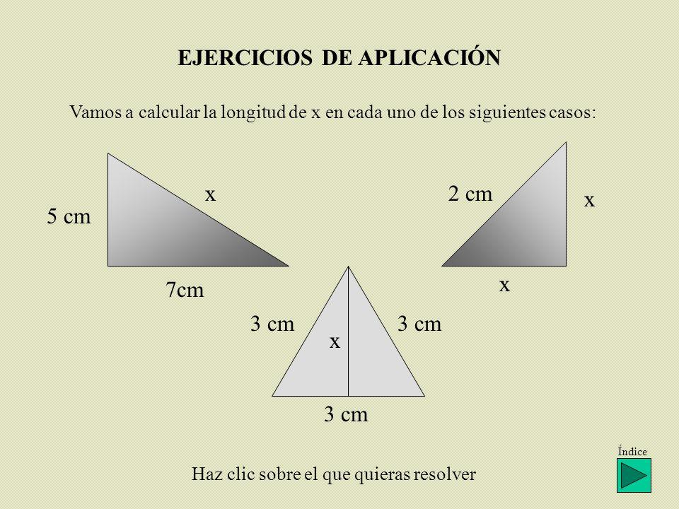 EJERCICIOS DE APLICACIÓN Vamos a calcular la longitud de x en cada uno de los siguientes casos: x 7cm 5 cm 2 cm x x x 3 cm Haz clic sobre el que quier