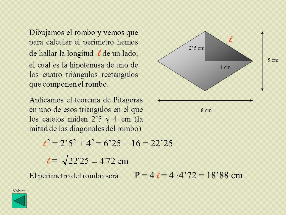 Dibujamos el rombo y vemos que para calcular el perímetro hemos de hallar la longitud l de un lado, el cual es la hipotenusa de uno de los cuatro triá