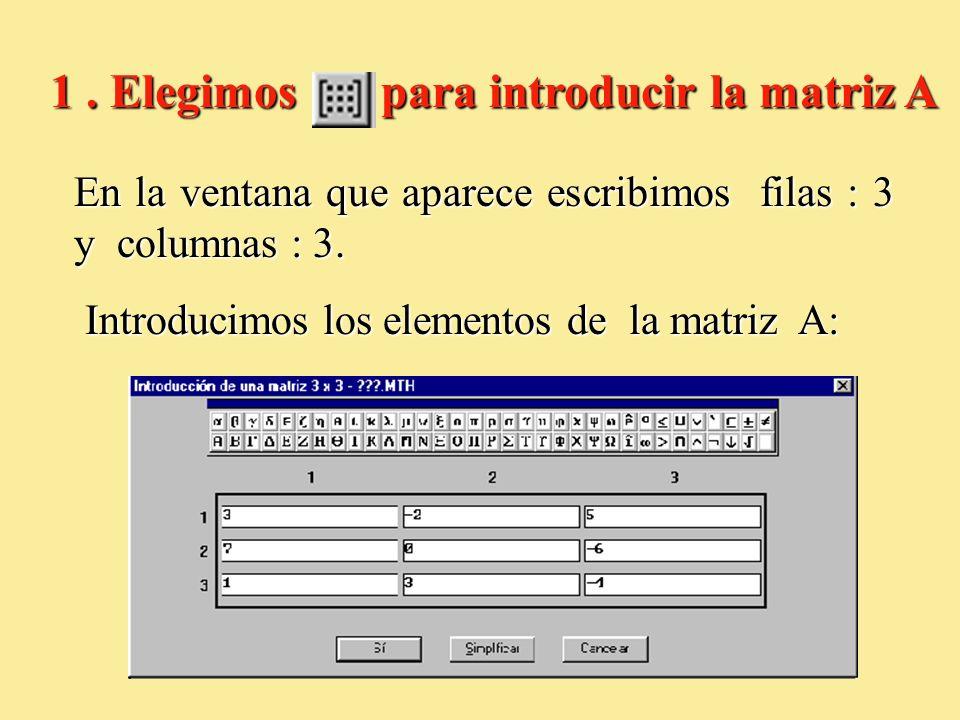 En la ventana que aparece escribimos filas : 3 y columnas : 3. Introducimos los elementos de la matriz A: Introducimos los elementos de la matriz A: 1