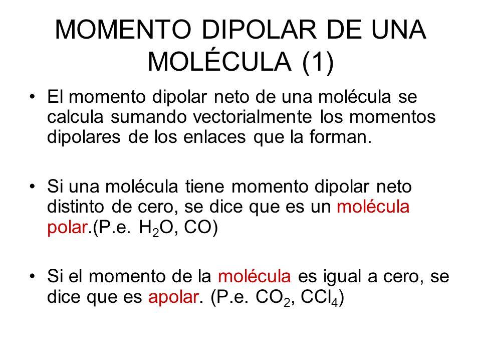 MOMENTO DIPOLAR DE UNA MOLÉCULA (1) El momento dipolar neto de una molécula se calcula sumando vectorialmente los momentos dipolares de los enlaces qu