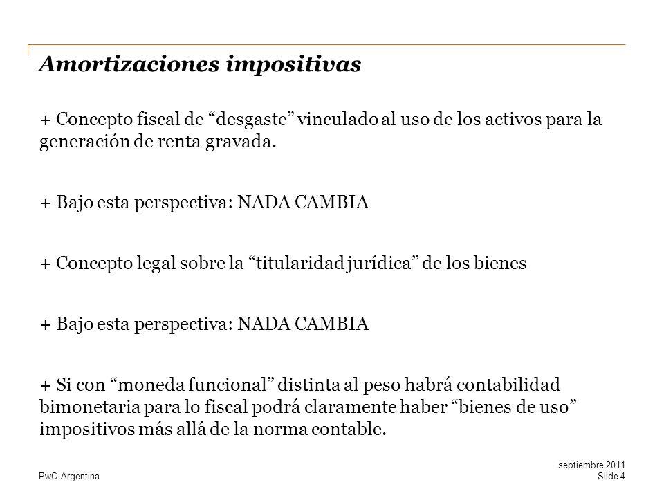 PwC Argentina Amortizaciones impositivas + Concepto fiscal de desgaste vinculado al uso de los activos para la generación de renta gravada. + Bajo est