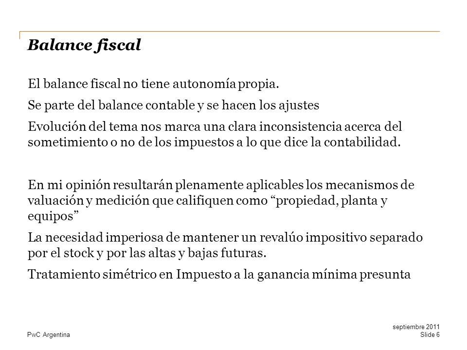 PwC Argentina Balance fiscal El balance fiscal no tiene autonomía propia. Se parte del balance contable y se hacen los ajustes Evolución del tema nos