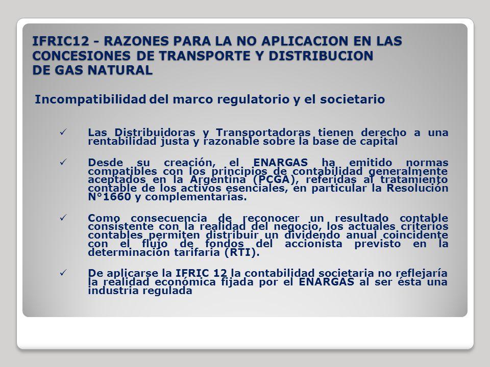 IFRIC12 - RAZONES PARA LA NO APLICACION EN LAS CONCESIONES DE TRANSPORTE Y DISTRIBUCION DE GAS NATURAL Incompatibilidad del marco regulatorio y el soc