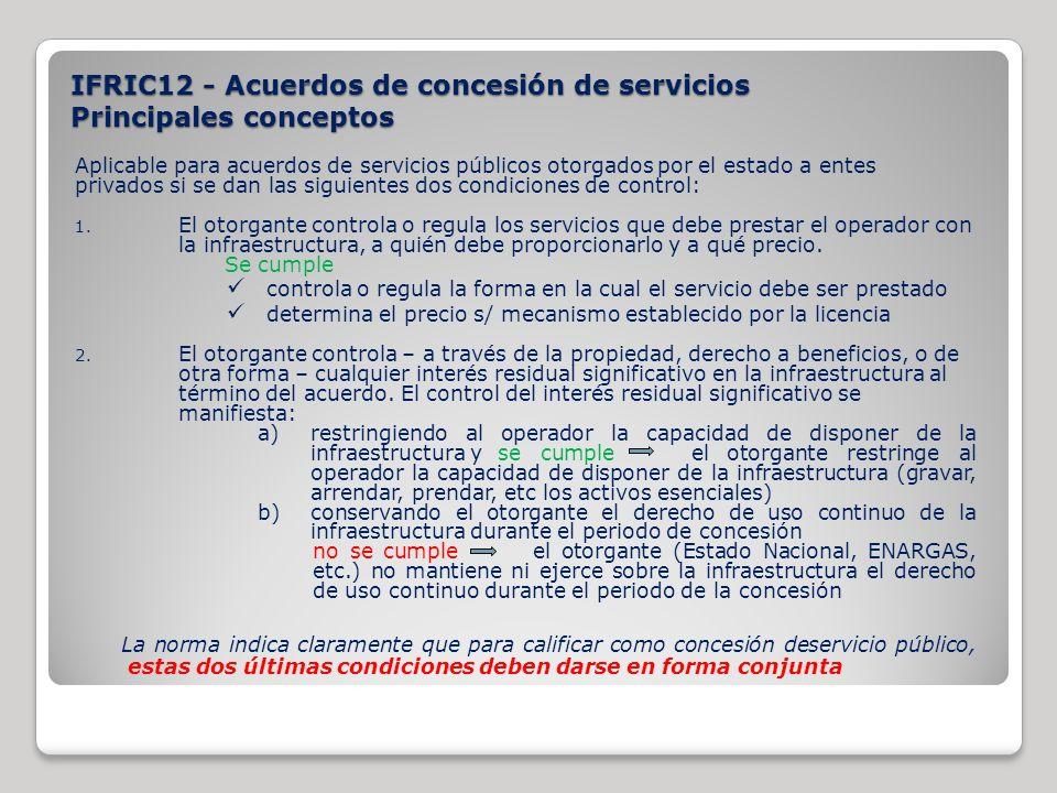 Aplicable para acuerdos de servicios públicos otorgados por el estado a entes privados si se dan las siguientes dos condiciones de control: 1. El otor