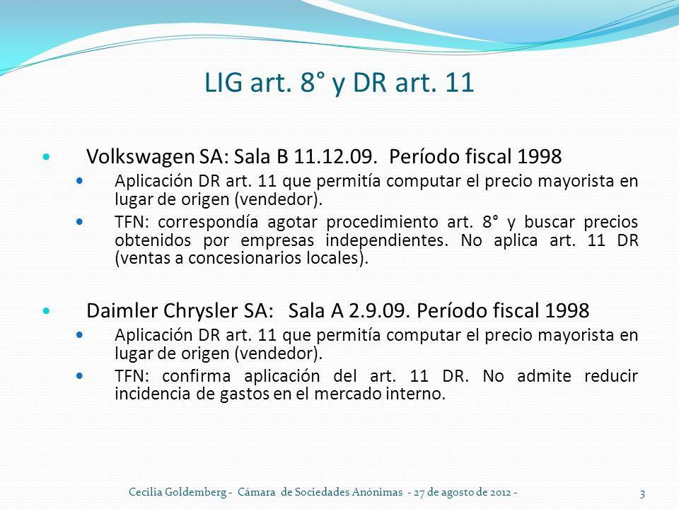 LIG art. 8° y DR art. 11 Volkswagen SA: Sala B 11.12.09. Período fiscal 1998 Aplicación DR art. 11 que permitía computar el precio mayorista en lugar